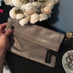 Banana Republic Suede Leather Foldover clutch ⭐️